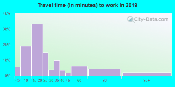 Travel time to work (commute) in zip code 39180