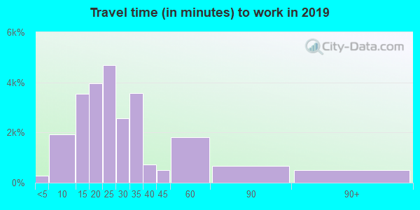 Travel time to work (commute) in zip code 39503