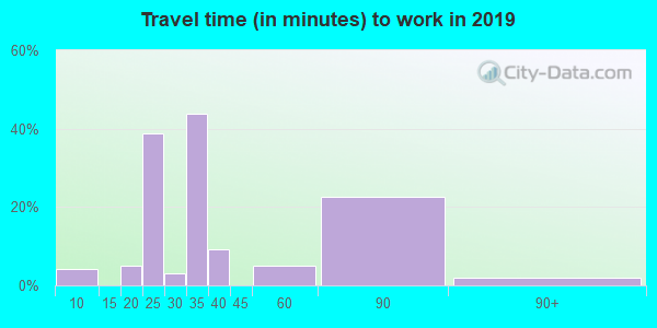 Travel time to work (commute) in zip code 41385