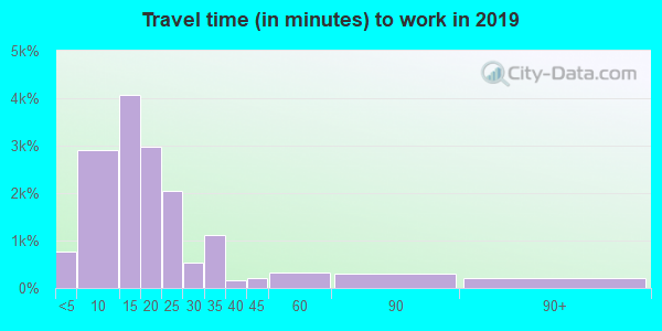 Travel time to work (commute) in zip code 42240