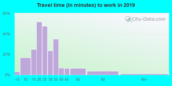 Travel time to work (commute) in zip code 43235