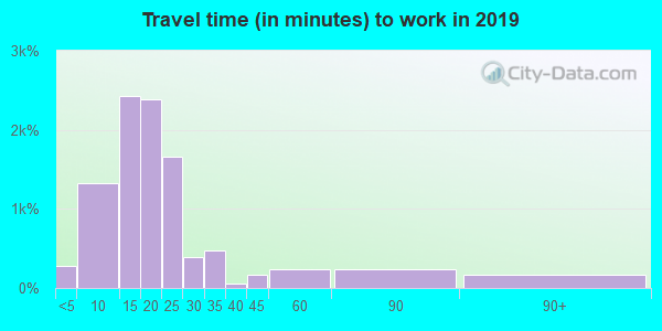 Travel time to work (commute) in zip code 46808