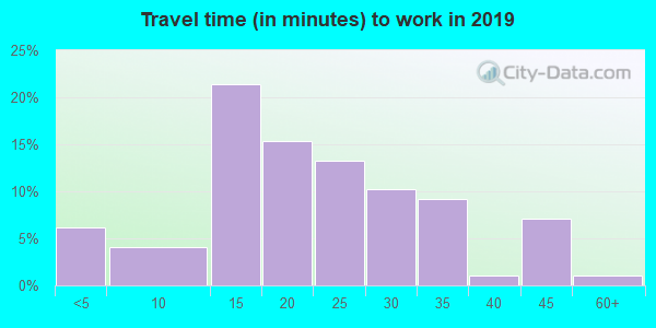 Travel time to work (commute) in zip code 51008