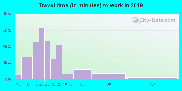 Travel time to work (commute) in zip code 55343