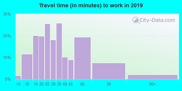 Travel time to work (commute) in zip code 55372