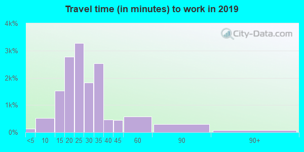 Travel time to work (commute) in zip code 55419