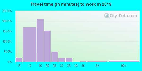 Travel time to work (commute) in zip code 59401