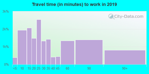 Travel time to work (commute) in zip code 60098