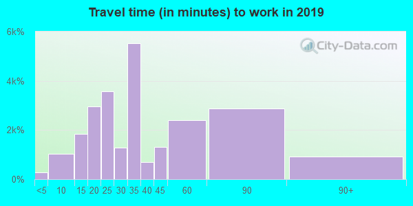 Travel time to work (commute) in zip code 60609