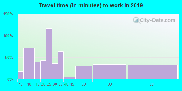 Travel time to work (commute) in zip code 62090