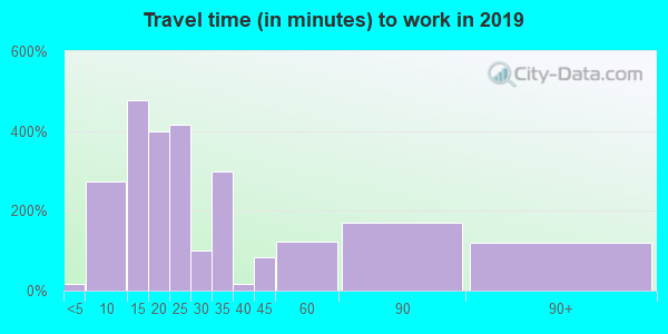 Travel time to work (commute) in zip code 62204