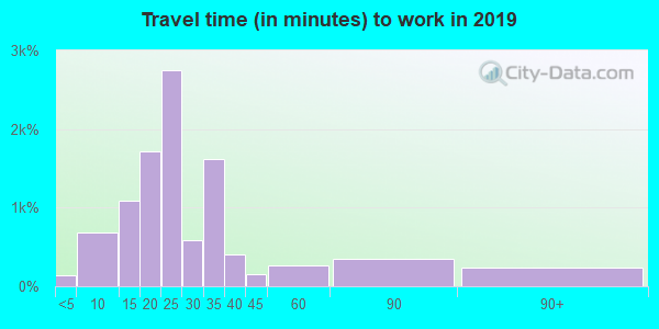 Travel time to work (commute) in zip code 63121