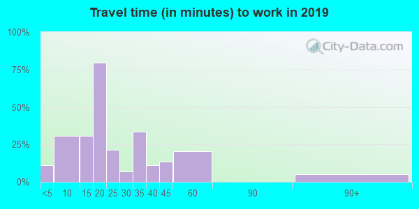 Travel time to work (commute) in zip code 64769