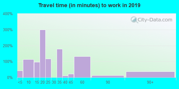 Travel time to work (commute) in zip code 65438