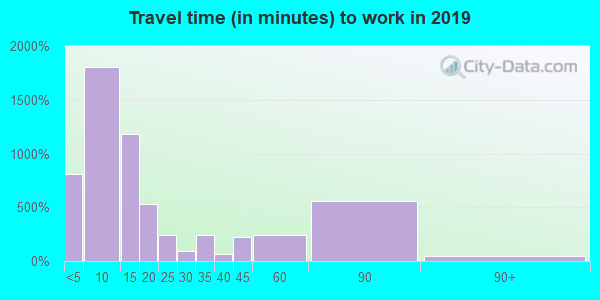 Travel time to work (commute) in zip code 66002