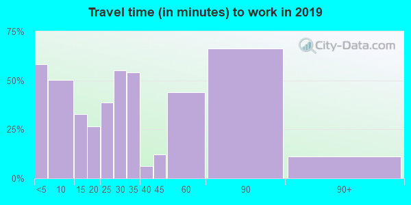 67019 zip code travel time to work (commute)