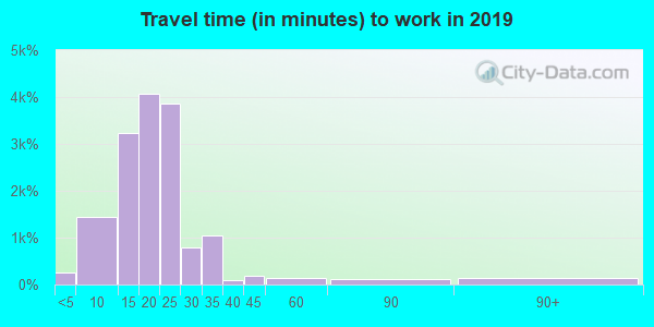 Travel time to work (commute) in zip code 67207