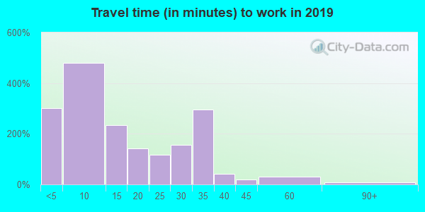 Travel time to work (commute) in zip code 68959