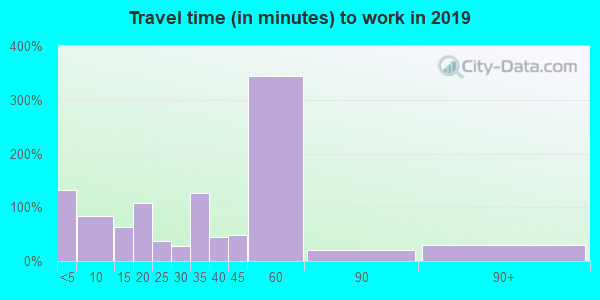 Travel time to work (commute) in zip code 72438