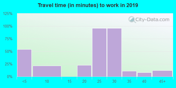 Travel time to work (commute) in zip code 72537