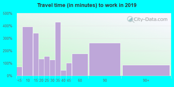 74048 zip code travel time to work (commute)