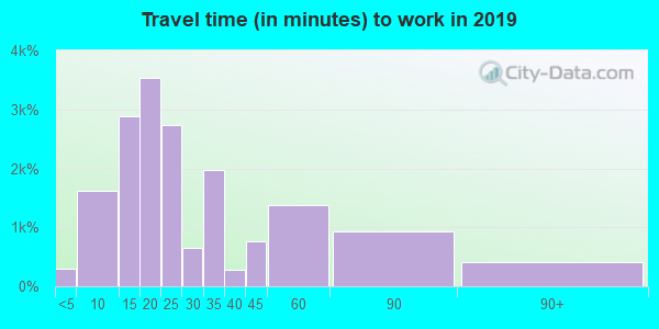 Travel time to work (commute) in zip code 75069