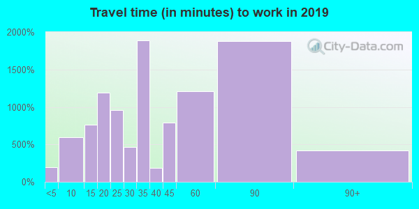 Travel time to work (commute) in zip code 75180