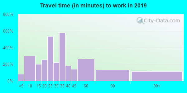 Travel time to work (commute) in zip code 75789