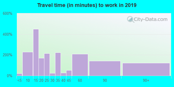 Travel time to work (commute) in zip code 75860