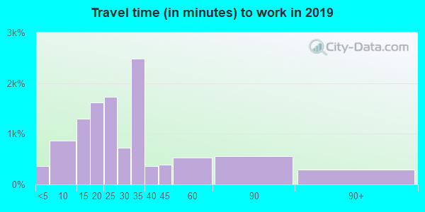 Travel time to work (commute) in zip code 77662