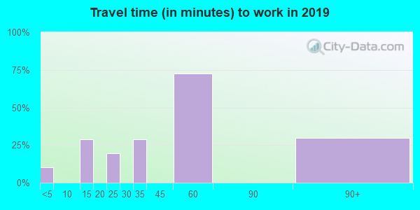 Travel time to work (commute) in zip code 77663