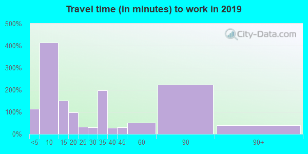 Travel time to work (commute) in zip code 78071