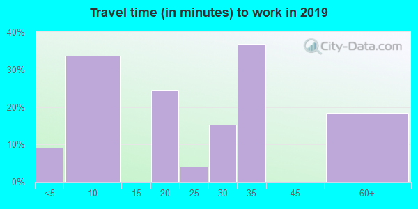 Travel time to work (commute) in zip code 78622