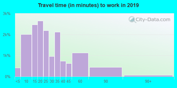 Travel time to work (commute) in zip code 80111