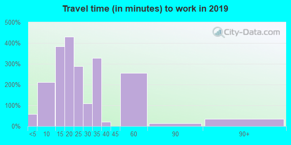 Travel time to work (commute) in zip code 82636
