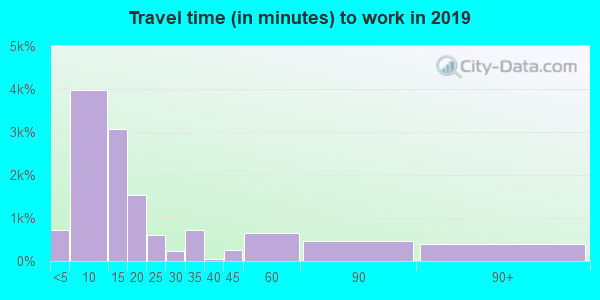 Travel time to work (commute) in zip code 84078