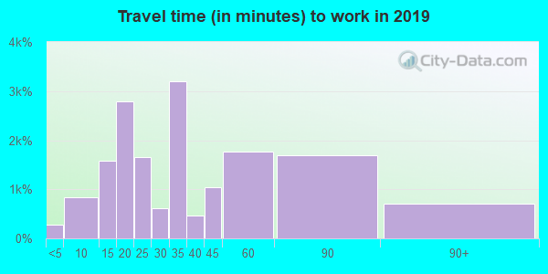 Travel time to work (commute) in zip code 90028