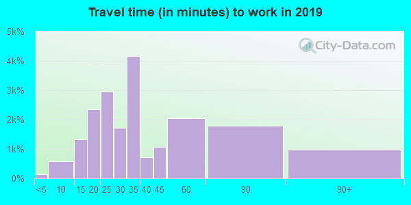 Travel time to work (commute) in zip code 94115