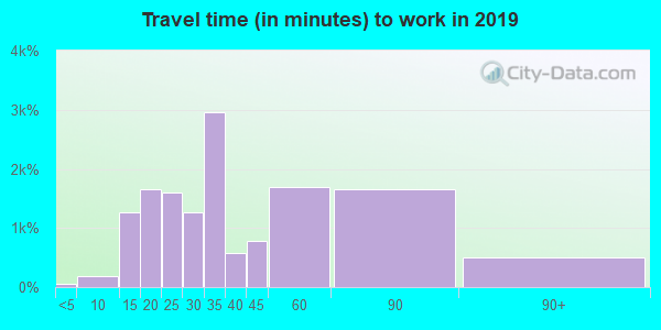Travel time to work (commute) in zip code 98178