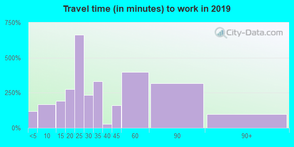 Travel time to work (commute) in zip code 98596