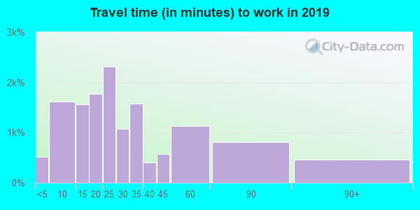 Travel time to work (commute) in zip code 98607
