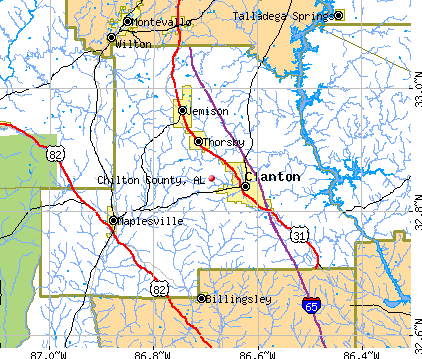 Chilton County, AL map