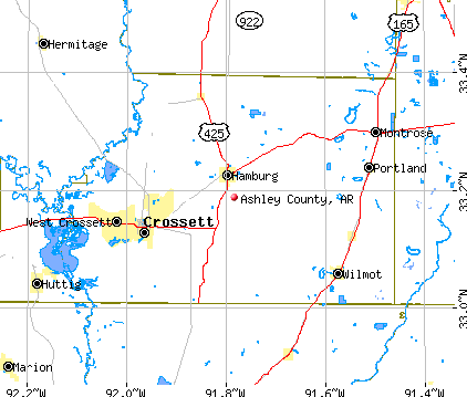 Ashley County, AR map