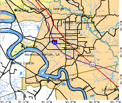 Ascension Parish, LA map