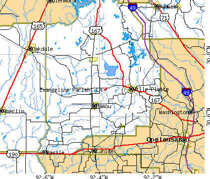 Evangeline Parish, LA map