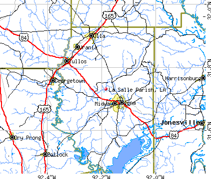 La Salle Parish, LA map