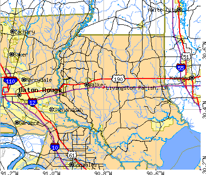 Livingston Parish, LA map