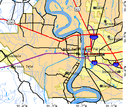 West Baton Rouge Parish, LA map
