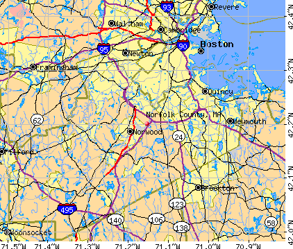 Norfolk County, MA map