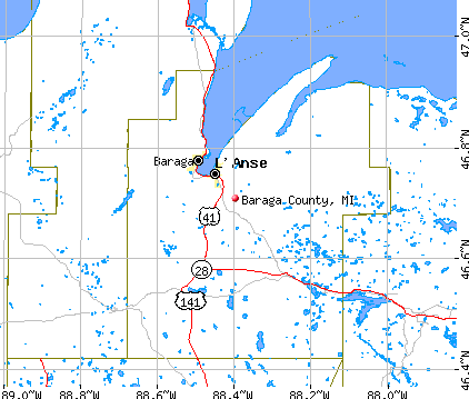 Baraga County, MI map